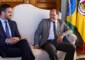 Sartori e Leite em encontro no Piratini. Foto: Luiz Chaves/Palácio Piratini