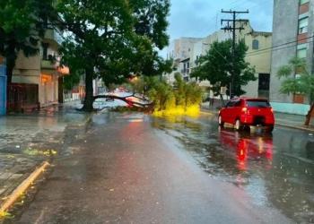 Foram registrados 163 milímetros de chuva no município. Foto: Rádio Charrua / Divulgação / Defesa Civil