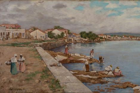 As lavadeira da Praia do Riacho - 1899, de Otto Dinger. Foto: Reprodução/PMPA