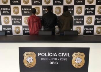 Os três comerciantes foram presos em flagrante. Foto: Divulgação/Polícia Civil