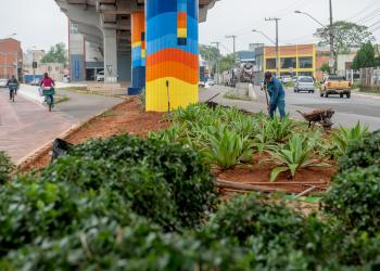 Uma pessoa trabalha embaixo de uma passarela. Há um canteiro e as colunas estão coloridas.
