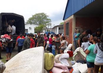 Em Rosário do Sul, famílias foram encaminhadas para o ginásio municipal em função das cheias do rio Santa Maria.  Foto: Defesa Civil/ Divulgação