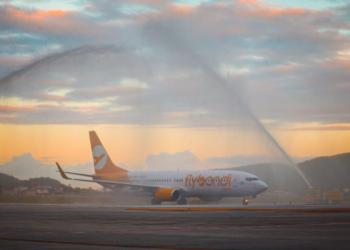 Batismo da aeronave no Aeroporto Internacional de Florianópolis - Hercílio Luz (FLN). Foto: Floripa Airport/Divulgação