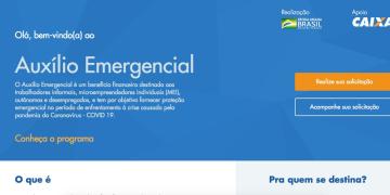 Página de abertura - solicitação de auxílio emergencial de R$ 600. Foto: Reprodução / Caixa Econômica Federal