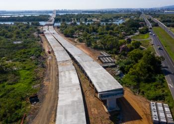 Obras da nova Ponte do Guaíba em Porto Alegre. Foto: Consórcio Nova Ponte do Guaíba/DNIT/Divulgação