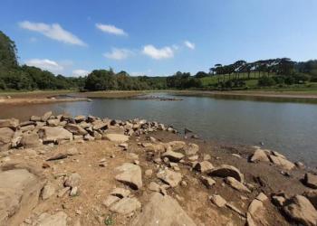 Nível da barragem do Rio Burati está cinco metros abaixo do nível normal. Foto: Divulgação/Secretaria do Meio Ambiente de Farroupilha