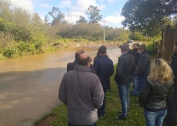 Consórcio deu início a acompanhamento do problema evidenciado pelo volume de chuvas. Foto: Jéssica Madril/Divulgação Pró-Sinos
