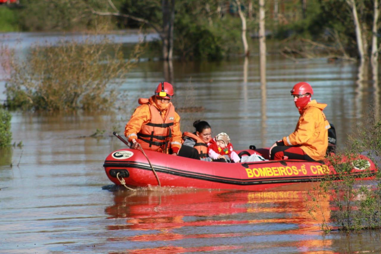 Enchente em Venâncio Aires deixa desalojados e desabrigados. Foto: Leandro Osório/Prefeitura de Venâncio Aires