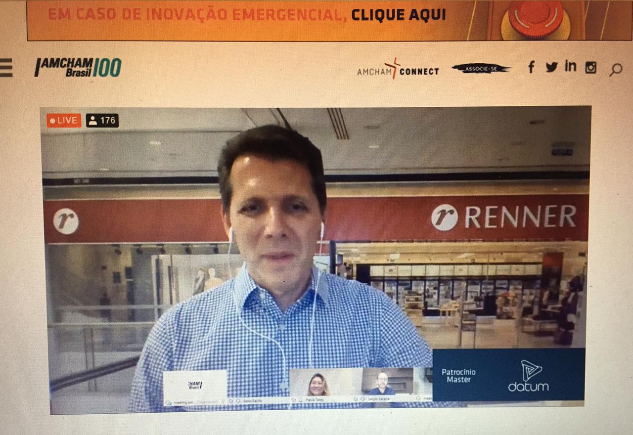 Fabio Faccio, CEO das Lojas Renner, na 1ª edição do CEO at Home, da Amcham. Foto: Divulgação