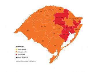 Mapa definitivo do distanciamento controlado, em vigor a partir desta terça (4/8), tem seis regiões em bandeira vermelha e 14 em laranja. Foto: Governo do RS/Divulgação