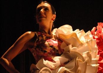Bailarina Tablado Andaluz flamenco, babados da saia para cima.