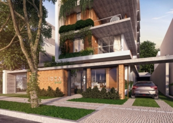 Perspectiva de prédio sustentável.