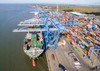 Teconline é plataforma para Tecon Rio Grande. Vista aérea do porto.