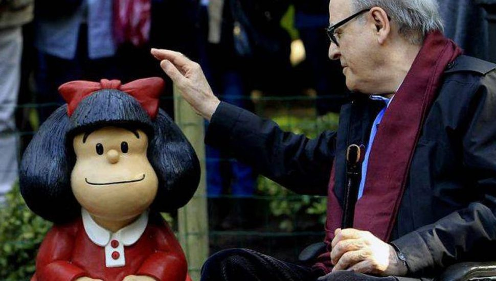 Quino e Mafalda, a menina. Foto: Facebook / Mafalda Oficial
