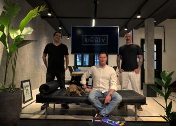Tiago Russell (a esquerda), Andres Rajchenberg (ao centro) e Rafael Bohrer são sócios na Kreativ. Foto: Divulgação