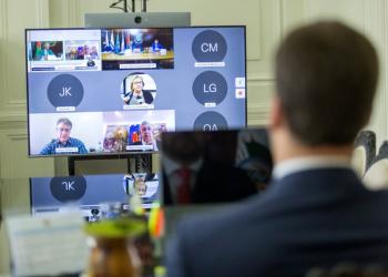 Encontro da Comissão do Mercosul e Assuntos Internacionais com embaixadores ocorreu por videoconferência, Foto: Gustavo Mansur/Palácio Piratini