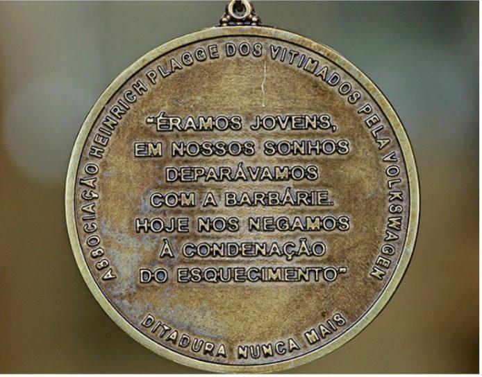 Associação Heinrich Plagge dos vitimados pela Volkswagen lançou em 2019 a medalha 'Lúcio Bellentani de Direitos Humanos'. Foto: Reprodução