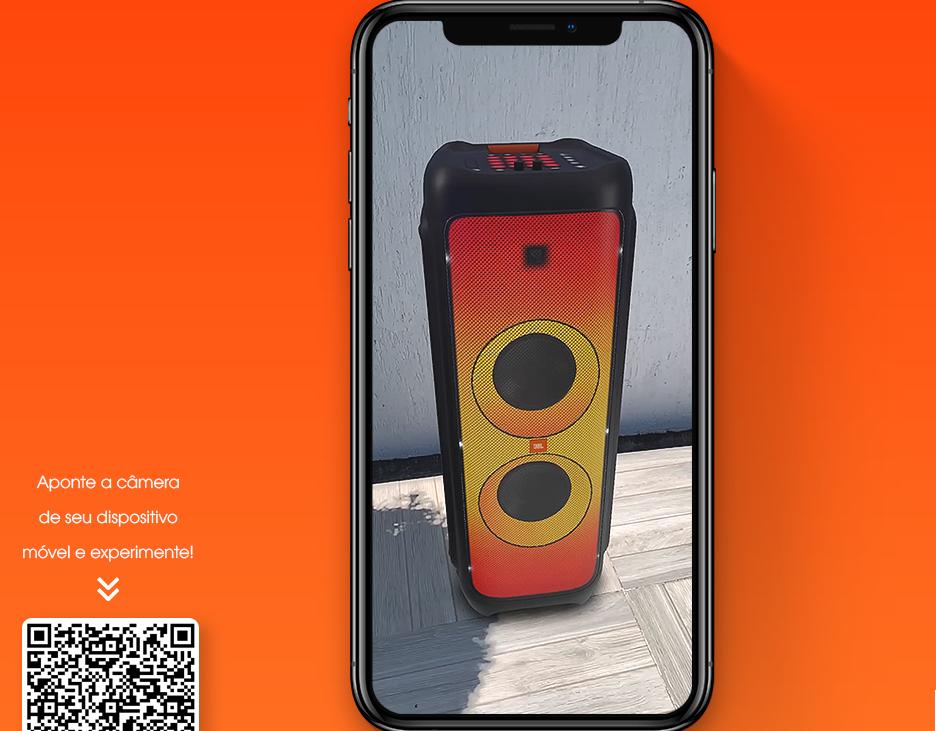 Celular mostra caixa de som e código QR para realidade aumentada.