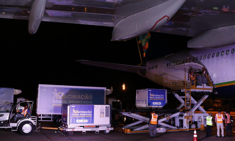 Chegada das vacinas da AstraZeneca/Oxford contra Covid-19 produzidas pelo Instituto Serum, na Índia, à base aérea do Galeão para serem encaminhadas à Fiocruz.  (Fernando Frazão/Agência Brasil)