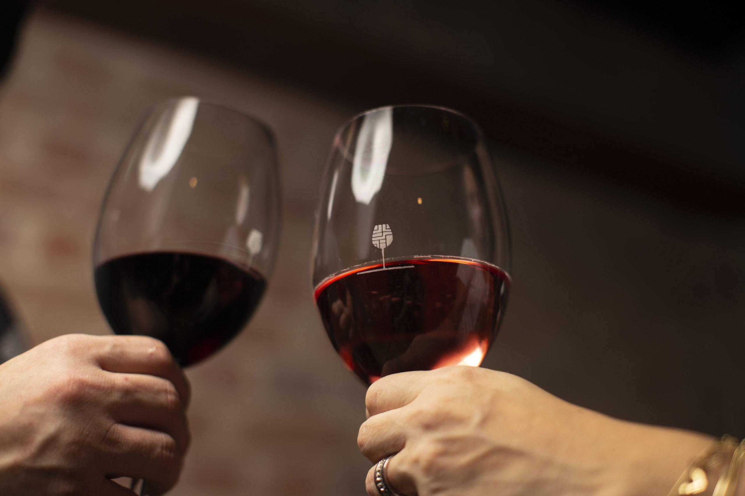 Duas mãos seguram taças de vinho.