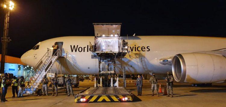 Carregamento vindo da Bélgica chegou por via aérea em Campinas. Foto: Divulgação/Ministério da Saúde