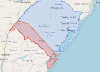 Temporais poderão correr na área delimitada em vermelho no mapa. Crédito: Divulgação/Defesa Civil do RS