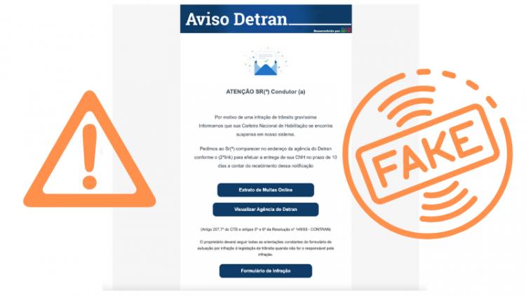 Reprodução do e-mail falso que usa o nome do Detran. Foto: Detran / Divulgação