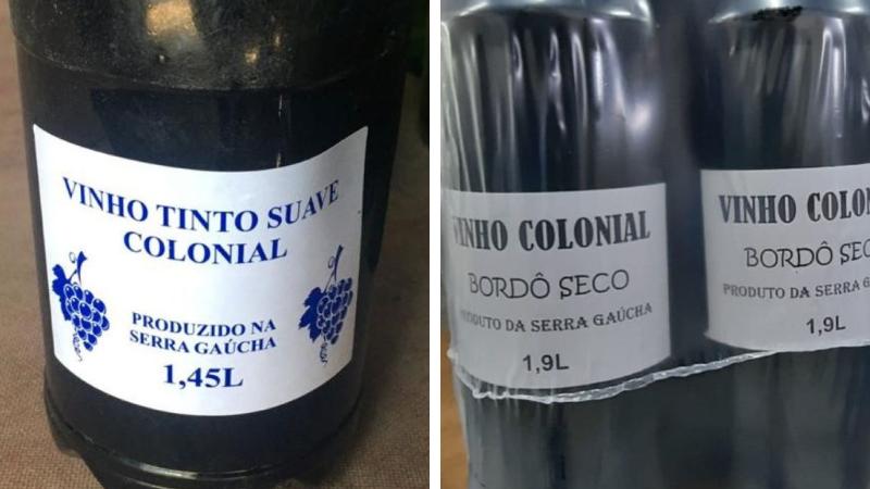 Rótulos de falsos vinhos coloniais sem indicação de procedência, nem registro no Ministério. Foto: Divulgação/Seapdr
