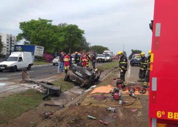 Colisões foram registradas  no km 346 da rodovia. Foto: Divulgação/Corpo de Bombeiros