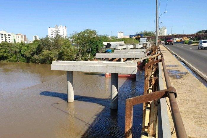 As obras são para ampliação da ponte sobre o Rio dos Sinos. Foto: Divulgação/Dnit
